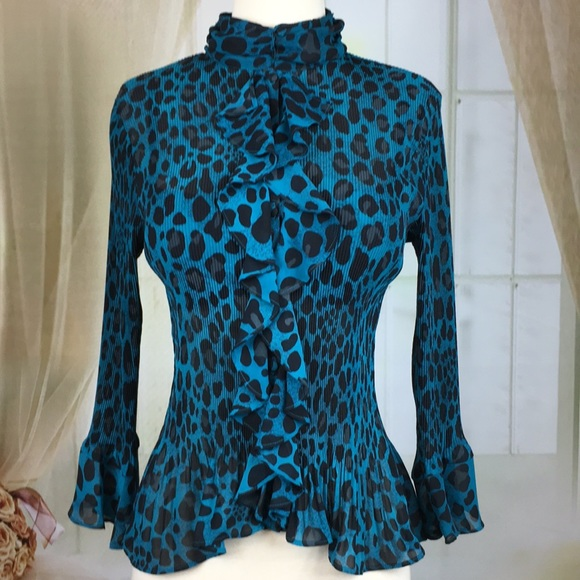 422e627d0409 Violet & Claire Tops | Violet Claire Blue Leopard Print Blouse ...